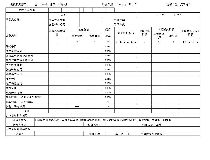 印紙税納税申告表