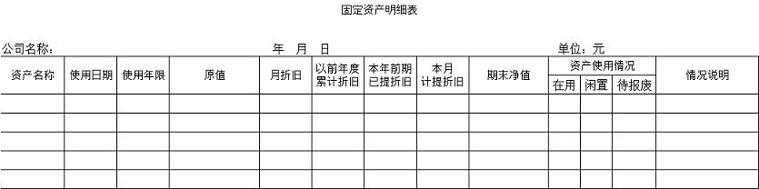 固定資産管理表
